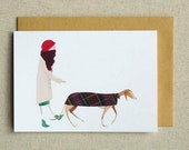 Greyhound dog walking, Sleek and Savvy Set of 5 Cards