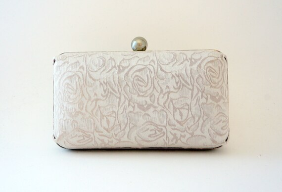 Ivory Bridal Clutch Purse - Ivory Evening Handbag - Old Hollywood - Formal/New Years/Holiday/Christmas - Includes Shoulder Chain