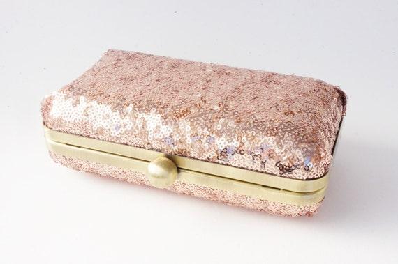 Rose Gold Clutch Purse  - Rose Gold Bridal Handbag - Wedding - Evening/Formal/Holiday/New Years Evening Purse - Old Hollywood Box Clutch