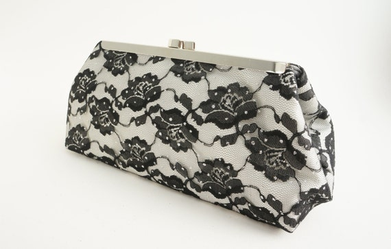Ivory & Black Rose Lace Shimmer Clutch Handbag - Bridesmaid/Wedding/Evening/Prom Purse - Includes Crossbody Chain - Ready to Ship