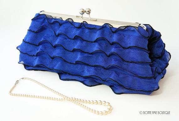 Royal Blue Ruffle Clutch Purse - Wedding/Evening Handbag