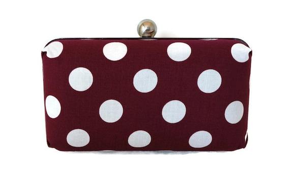 Cranberry Red Polka Dot Clutch Handbag - Polka Dot Purse - Vintage Inspired - Includes Crossbody Chain - Box Clutch Purse - Ready to Ship