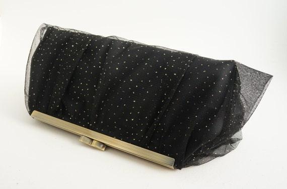 Black & Gold Lace Clutch Handbag - Bridesmaid/Prom/Formal/Evening Handbag Purse - Includes Crossbody Chain - Ready to Ship