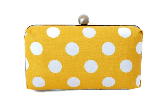 Mustard Yellow and White Polka Dot Box Clutch Purse - Vintage Inspired Handbag - Polka Dotted Clutch - Includes Shoulder Chain