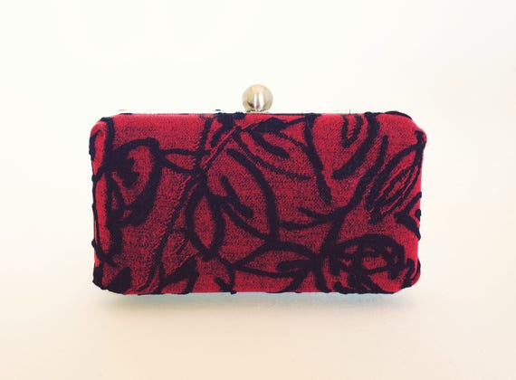Red and Black Box Clutch Purse - Old Hollywood - Vintage Style - Christmas Gift - Holiday/New Years/Evening Handbag - Includes Chain