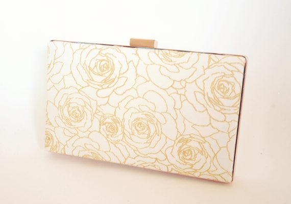 Ivory and Rose Gold Clutch Handbag - Wedding/Bridal Purse - New Years/Evening/Formal Purse - Christmas Gift - Includes Wrist Chain