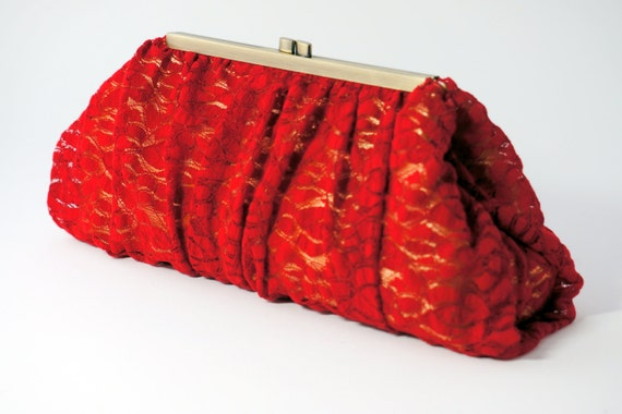 Romantic Red Lace Clutch Purse - Evening Handbag - Old Hollywood - Includes Crossbody Chain - Ready to Ship