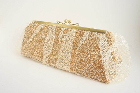 Gold Lace Clutch Purse - Old Hollywood - Wedding/Evening/Formal/New Years - Vintage Style - Includes Crossbody Chain - Ready to Ship