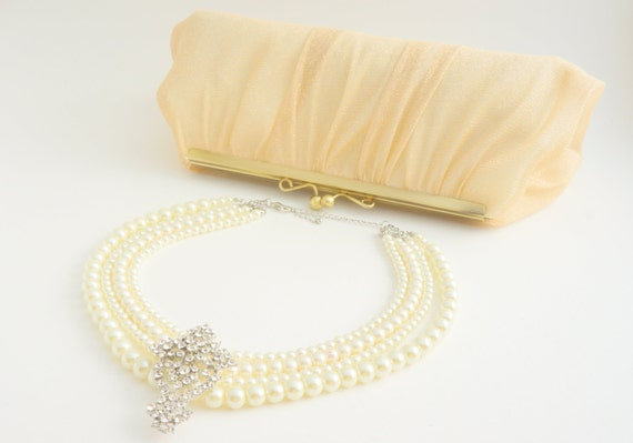 Champagne Gold Clutch Purse  - Wedding/Formal/Evening/Party - Old Hollywood - Vintage Inspired - Glam - Ready to Ship