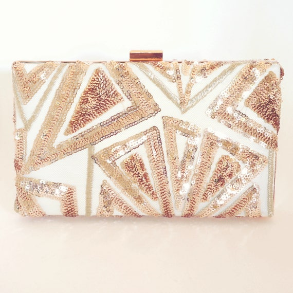 Rose Gold Clutch Purse Handbag - Old Hollywood - Vintage Style - Bridal Purse - Wedding Handbag - New Years/Evening/Formal Purse