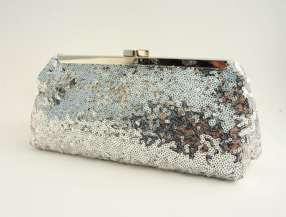 Silver Rhinestone Sequin Clutch Handbag Purse - Holiday/New Years/Evening/Wedding/Formal - Includes Shoulder Chain - Ready to Ship