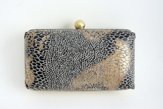 Snakeskin Print Box Clutch Purse - Black/Gold/Bronze Handbag - Includes Shoulder Chain - Ready to Ship