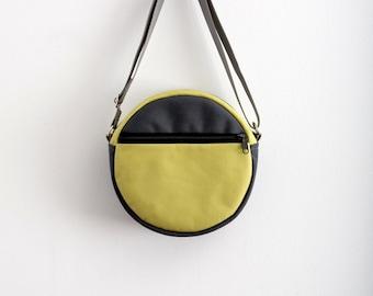 Round Bag Purse Grey Neon Green Bag Unisex Bag Hipster Bag Cross Body Bag Minimalist Bag Must Have Bag Casual Eco Friendly Bag Street Style