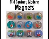 Set of Four, Mid Century Modern Magnets, Retro designs, Donna Mibus