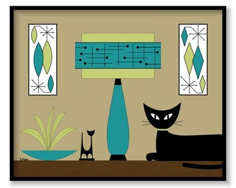 Donna Mibus Art Print Mid Century Modern Retro Black Cat on Tabletop