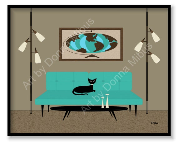 "11/"" X 14/"" Print Mid Century Modern Retro Black Cat Donna Mibus Z Chair Lamp"