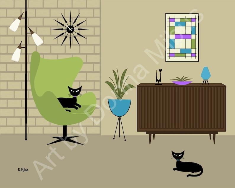 "11/"" X 14/"" Print Mid Century Modern Retro Dogs Donna Mibus black lab cat Tiki"