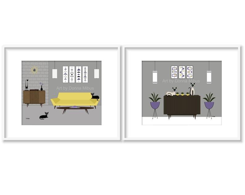 "11/"" X 14/"" Print Mid Century Modern Retro Siamese Cats Donna Mibus Buffet Chair"