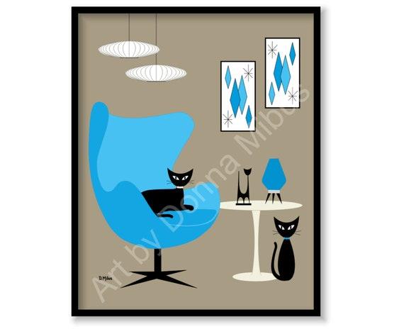 Wondrous Contemporary Art Print Modern Art Mid Century Art Print Egg Chair Modern Black Cat Diamonds Blue Pink Retro Cat Art Gravel Art Tulip Table Machost Co Dining Chair Design Ideas Machostcouk