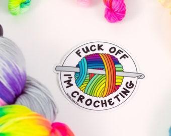 Waterproof Yarn Sticker Decal ~ For Crocheter Knitter ~ Purple Magenta Yarn Ball Skein ~ Removable