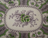 SALE Stone China quot Water Lilly quot Transferware Platter Purple and Green