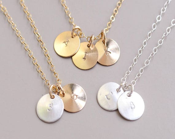 Gold Initial Necklace, Personalized Charm Necklace, Silver Disc Jewelry, Gold Disc Necklace, Monogram Necklace, Bridesmaid Jewelry Gift