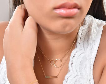 Gold Circle Necklace, Infinity Necklace, Interlocking Necklace, Gold Double Circle Necklace, Friendship Necklace, Eternity Necklace