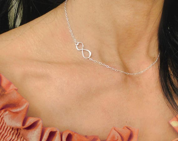 Silver Infinity Necklace, Friendship Necklace, Sideways Infinity Necklace, Gift for Friend, Love Necklace, Gift For Mom, Dainty Infinity