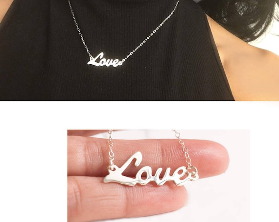Love Necklace, Silver Love Necklace, Love Name Necklace, Cursive Script Necklace, Love Pendant, Dainty Love Necklace, Love Plate Necklace