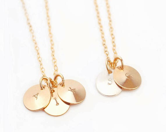 Personalized Necklace, Custom Necklace, Gold Disc Necklace, Silver Initial Necklace, Dainty Initial Necklace, Initial Charm Necklace