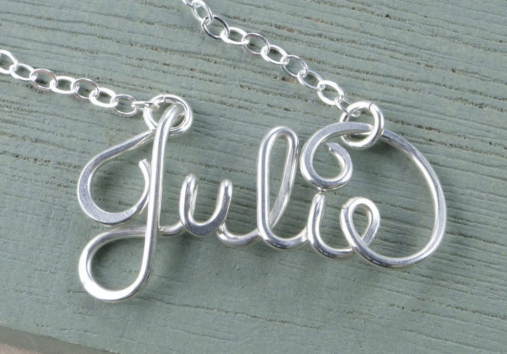 Custom Made Wire Lowercase Script Letter Necklace Personalized Wire Wrap Name Jewelry Wire Name Necklace