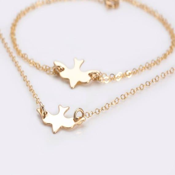 Gold Bird Bracelet, Dove Bracelet, Sterling Silver Bird Bracelet, Tiny Bird Bracelet, Dainty Dove Bracelet, Soaring Silver Dove Charm