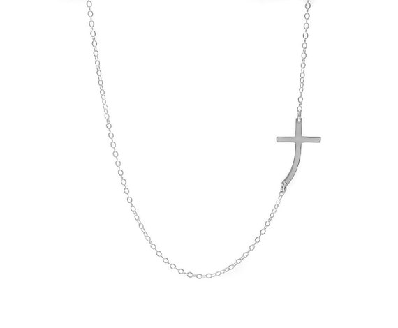 Sideways Cross Necklace, Curved Cross Necklace, Silver Cross Jewelry, Large Cross, Confirmation Gift, Religious Jewelry, Celebrity Necklace