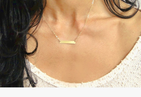 Bar Necklace, Initial Necklace, Personalized Bar Jewelry, Gold Bar, Silver Bar, Custom Name Necklace, Dainty Bar Necklace, Bridesmaid Gift