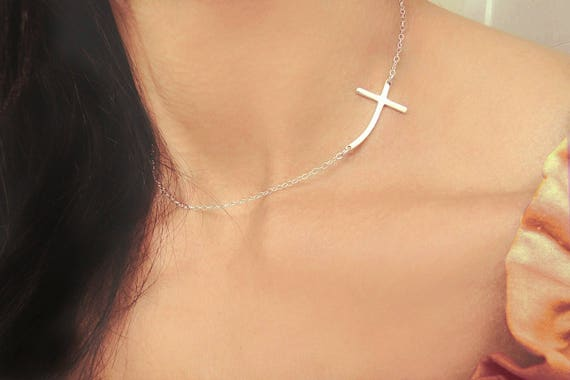 Sterling Silver CURVED Sideways Cross Necklace, Sterling Silver Horizontal Cross, Kelly Ripa Curved Cross, Cross Jewelry, Christmas Gift