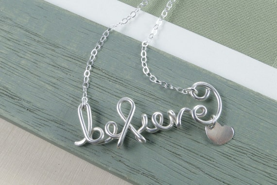 Believe Necklace Silver-Name Necklace, Believe Word Necklace, Cancer Awareness Necklace, Survivor Jewelry, Ribbon Necklace Silver