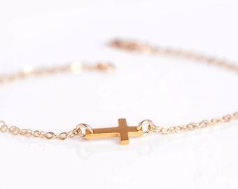 Cross Bracelet- Gold Cross Bracelet, Religious gift for woman, Silver Sideways Cross Bracelet,  Tiny Cross Bracelet, Dainty Gold Bracelet