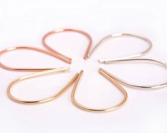 Hoop Earrings Silver- Rosegold Earrings, Wire Earrings, Gold Wire Hoops, Silver Hoop Earrings, Horseshoe Earrings, Hoops, Geometric Earrings