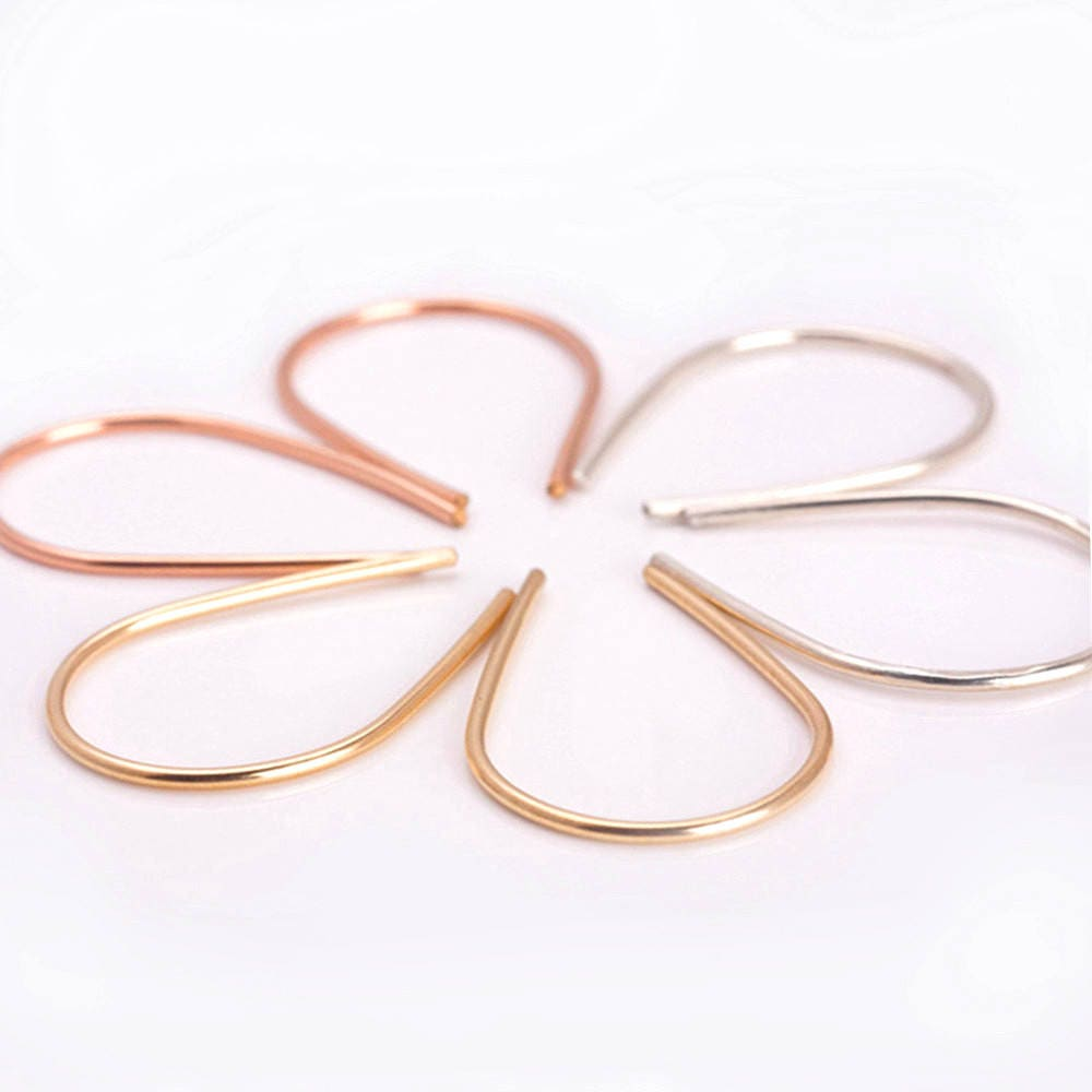 Arc Earrings, Open Hoop Earrings, Geometric Earrings, Gold-Rose Gold ...