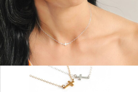 Cross Necklace Gold, Tiny Gold Cross Necklace, Silver Cross Necklace, Christian Necklace, Valentines Gift, Dainty Cross Choker Necklace