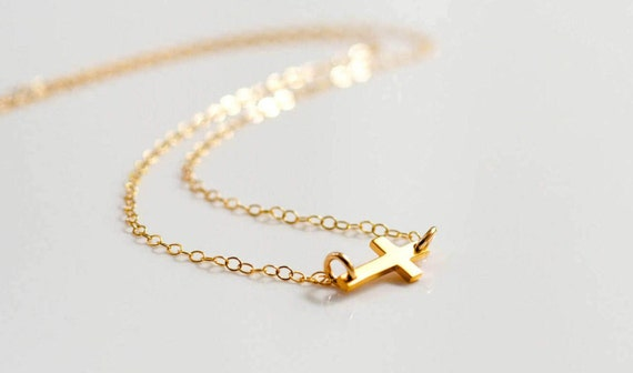 Catholic Necklace, Gold Sideways Cross Necklace, Tiny Cross Necklace, Confirmation Necklace, Christian Necklace, Dainty Cross Necklace