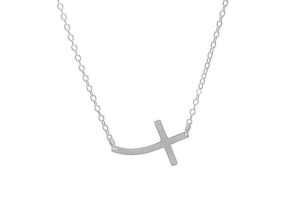 Curved Sideways Cross Necklace, Cross Necklace, Kelly Ripa Curved Sideways Cross, Anniversary Gift, Birthday Gift, Christian Necklace