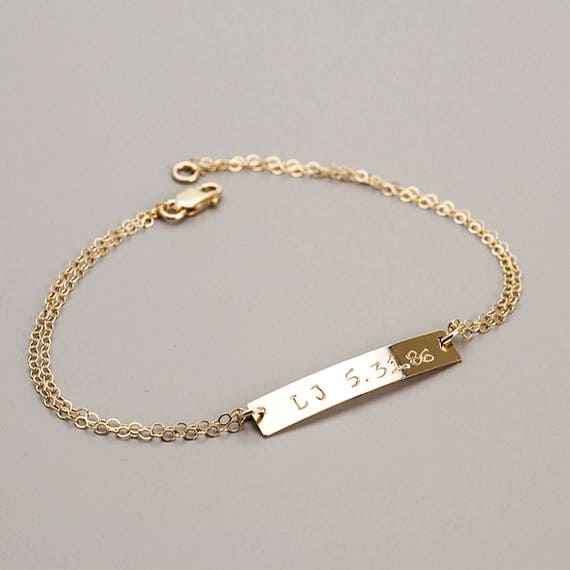Personalized Bar Bracelet, Bar Bracelet, Stacking Bracelet, Name Bracelet, Silver Gold Personalized Bracelet, Bar Jewelry, Bridesmaid Gift