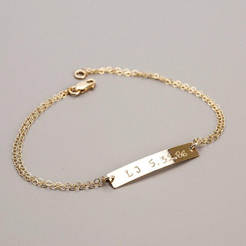 Bar Bracelet Personalized Bar Bracelet Stacking Bracelet image 0