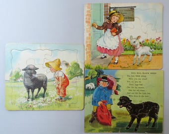 Three 1950s Vintage Cardboard Puzzles with Lambs, 2 P&M, 1 SIFO