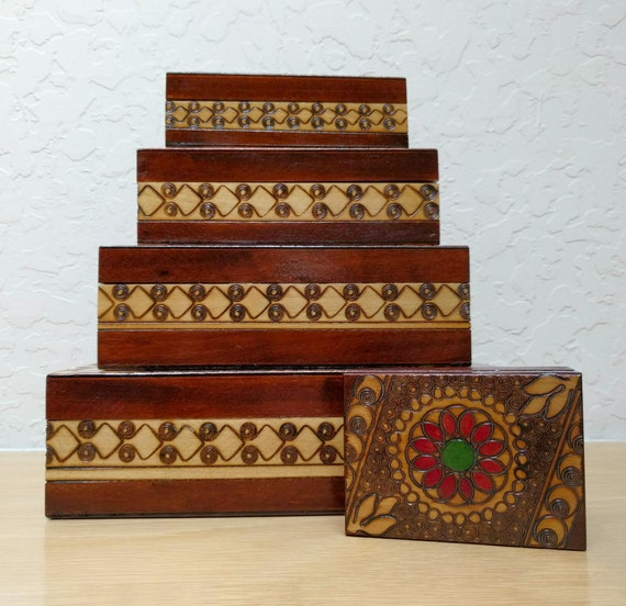 Florentine Tapestry Nested Gift Boxes 3 Piece Square CHOOSE Small or Large SET