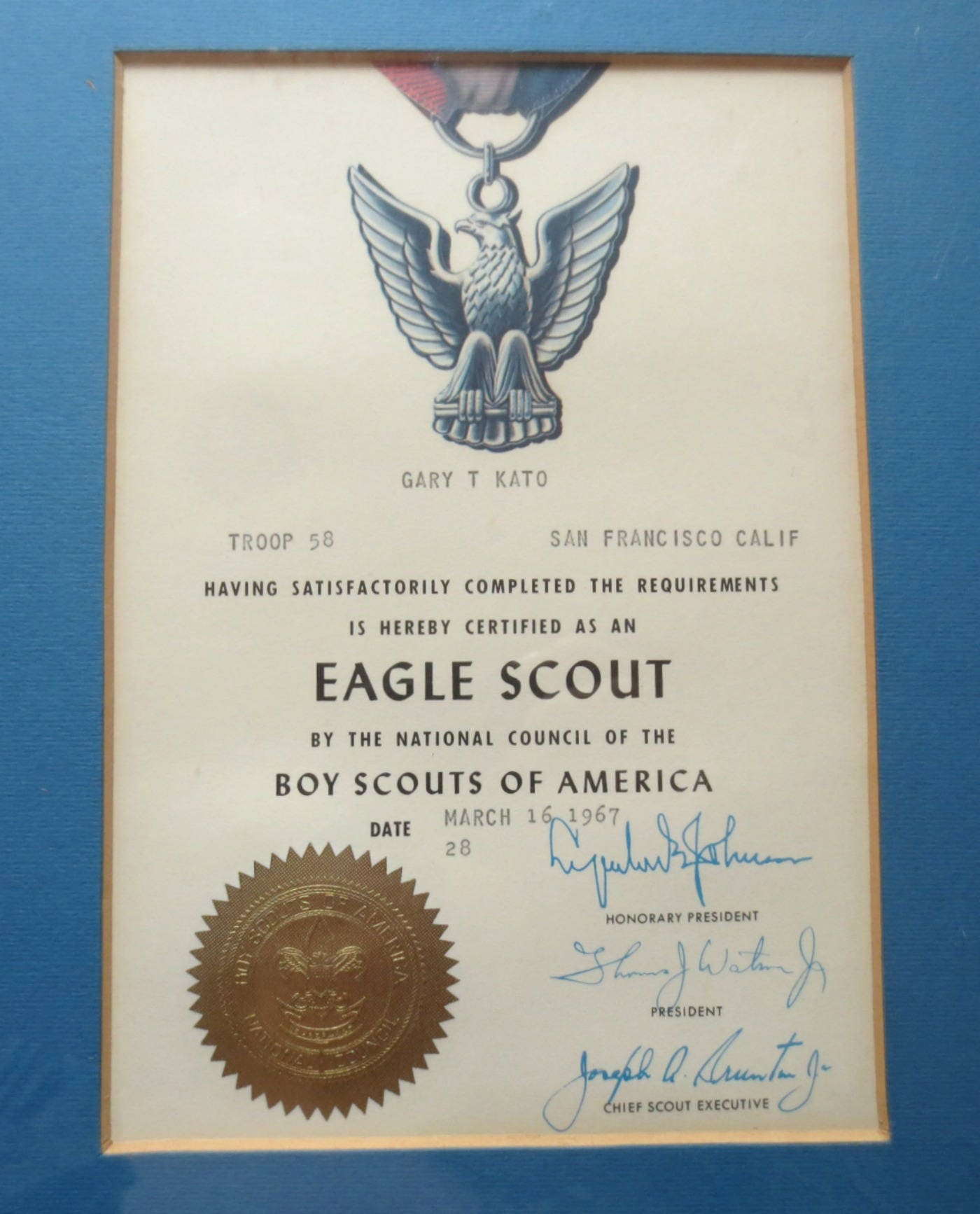 Framed 1967 Eagle Scoutboy Scout Certificate For Gary T Etsy