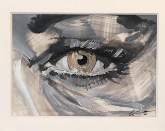 Golden Eye. Matted Original Ink Painting.