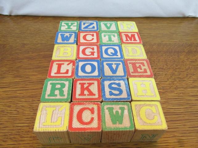 Alphabet & Language Blocks, Tiles & Mats 1978 Playskool Letter Block Wagon Toy 255 24 Wooden Blocks Yellow Wheels In Box