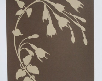 194 : Art Nouveau - Fuchsias in Silhouette (Coffee) - limited edition screenprint